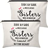 2 Pieces Makeup Bag for Sister Friends from Sister,Cosmetic Bag for Her,Friends TV Show Present,Birthday Valentines Day Wedding Graduation for Women,Sisters I'll Be There For (Classic Pattern)
