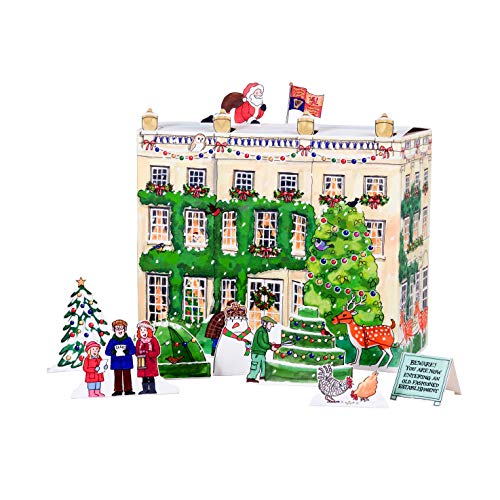 Alison Gardiner 3D Traditional Advent Calendar - Highgrove House with Freestanding Figures and 24 Windows with Charming Illustrations Behind