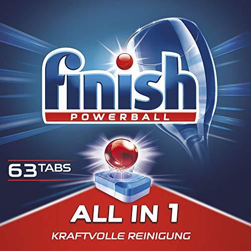 Finish All in 1 Spülmaschinentabs, Geschirrspültabs für kraftvolle Reinigung, Geschirrspülmittel, XXL Pack, 63 Tabs
