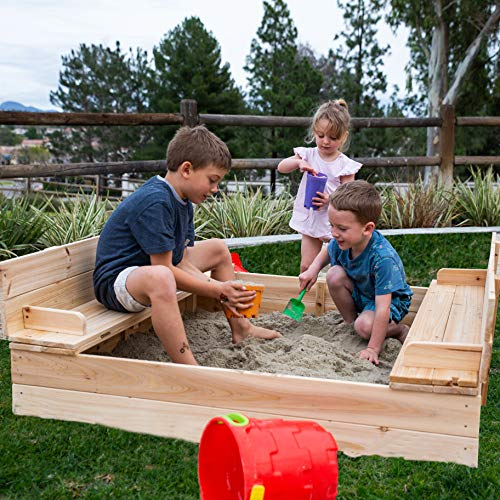 Be Mindful Solid Wood Sandbox for Outdoor Play (Extra Large)