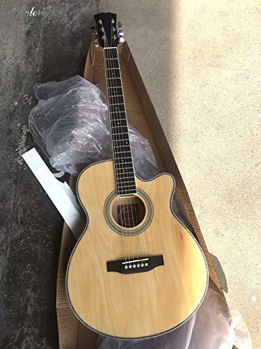LOIKHGV dünne Körper akustisch-elektrische Gitarre Anfänger Gitarre mit Tasche frei Saite schwarz natürliche Sunburst weiße Farbe, natürliche Farbe, 40 Zoll