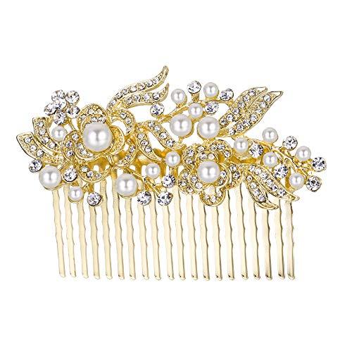 EVER FAITH® - Cristal Gatsby Inspirado Color Marfil Perla Simulada Peineta de Pelo - Claro-20-Dientes-Oro-Tono