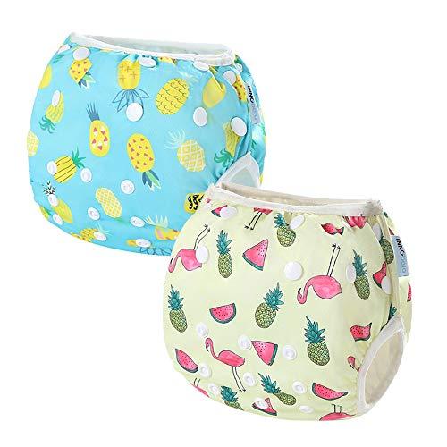 InnoBeta 2-teilig Wiederverwendbare Schwimmwindeln Einstellbare für Kleinkinder 0-1 Jahre(Size S), Schwimmhose Baby, baby badehose, Ananas + Flamingo