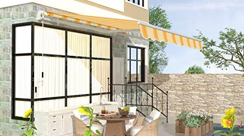 Schartec Gelenkarmmarkise M1100 in vielen Farben und Größen - manuelle Markise mit Handkurbel für Terasse und Balkon (250 x 200, gelb-orange)