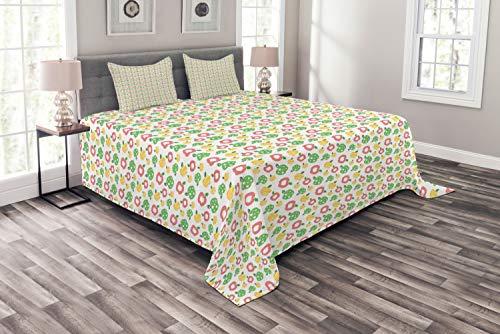 ABAKUHAUS Obst Tagesdecke Set, Äpfel in abstrakten Streifen, Set mit Kissenbezügen Moderne Designs, für Doppelbetten 264 x 220 cm, Dunkler Coral Grün Senf