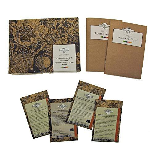 Radis colorés pour toute l'année' - kit cadeau de graines avec 4 variétés différentes