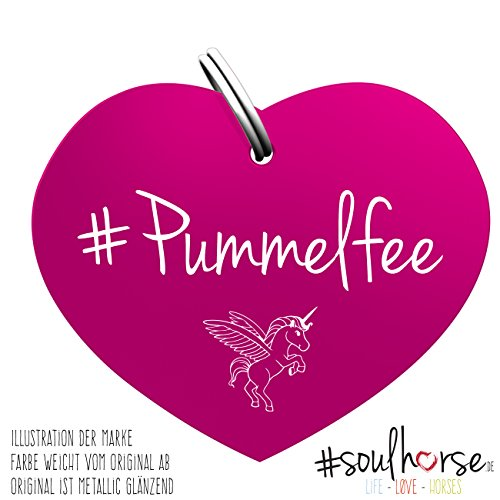 Soulhorse Pummelfee pink Pferde Glücksmarke – Gücksbringer Anhänger Halfter, Trense, Zaumzeug, Sattel, Vorderzeug