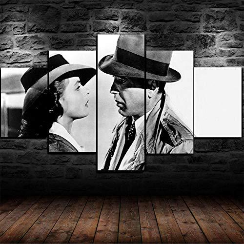 TOPRUN 5 Piezas Cuadro sobre Lienzo De Fotos Casablanca Humphrey Bogart Lienzo Impresión Cuadros Decoracion Salon Grandes Cuadros para Dormitorios Modernos Mural Pared Listo para Colgar