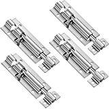 4 Pack Door Security Slide Latch Lock Barrel Bolt Latch Slide Door Bolt Stainless Steel Sliding Door Latch with Screws for Home Yard Garden, Silver, 3 Inch