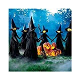 Halloween Decorations, Visiting Light-Up Witches with Stakes, Waterproof Light-up Witches Holding Hands Screaming Witches Sound-Activated Sensor, Ideal for Home Outside Party Decorations (1set)