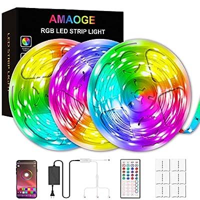 49.2ft LED Strip Lights, AMAOGE LED Music Sync Color Changing Lights SMD5050 44keys Remote, Bluetooth Controller Lights Rope Lights for Home TV Party APP Controlled(3x16.4Ft)