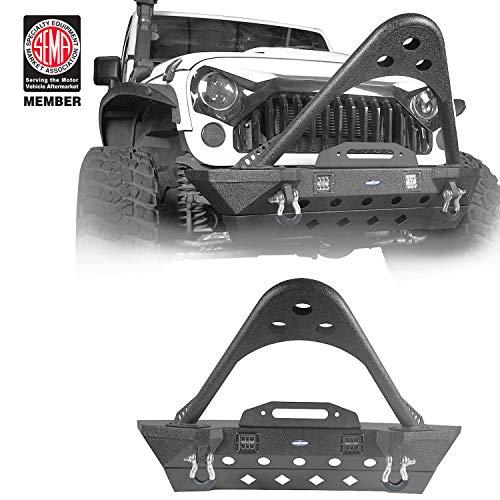 u-Box Wrangler Front Bumper w/ Winch Plate w/ Stinger Rhinoceros - Stubby fits for Jeep Wrangler JK 2007-2018