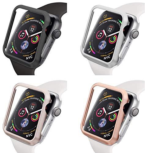 Aluminium Schutzhülle kompatibel mit Apple Watch 44mm/40mm ohne/mit Bildschirmglas, iWatch Zubehör Alu Metall Hülle Hülle Bumper Bildschirmschutz Series 4 5 6 und SE (44mm Schwarz ohne Bildschirmschutz)