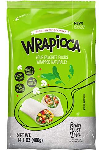 WRAPIOCA Brazilian Tapioca Flour Wrap - Gluten-Free, Paleo, Nut-Free, Dairy-Free Flour Alternative (2-Pack)