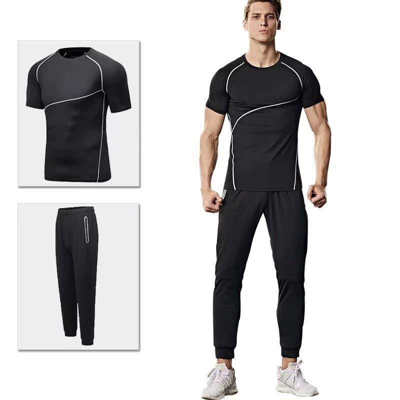 GTU Tシャツ+パンツツーピーススポーツスーツ男性の夏のフィットネス半袖速乾性の服メンズカジュアルスポーツウェアツーピースセットYHB-5612DZNKL