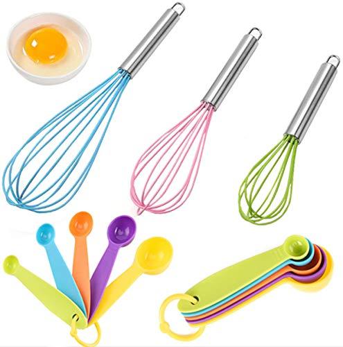 liuer 3PCS Varilla Batir,Batidor de Globo Silicona Manual Cocina Batidor con Cucharas Medidoras para Cocina Mezclar Remover(Color Aleatorio)