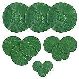 Artificial hojas de lirio de Lotus follaje hojas del lirio de agua artificiales flotantes almohadillas de espuma verde adornos de 12pcs estanque de peces de acuario piscina Patio Koi estanque