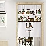 Hiseng Japanischer Noren Tür Vorhang Leinen Stoff Gemüse Bedruckte Doorway Curtain Restaurant Küche Partition Vorhang Schattierung Wiederverwendbare Hälfte Vorhang (85x120cm,Bauernhof B)