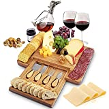 Bamboo Cheese Board and Cutlery Set with Hidden Slide-Out Drawer - Sleek Charcuterie Tray for Meats, Cheeses, Crackers - Premium Cheeseboard Gift Set for Weddings & Housewarming - 15.5x11.5x1.5 in.