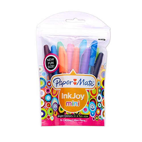 Paper Mate InkJoy 100 Mini Ballpoint Pen, Capped, Assorted Colors, 16-Pack (1927828)