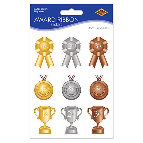 Beistle Award Ribbon Paper Stickers 4 Sheets Sports Party Supplies Educational School Spirit Favors, 4.75' x 7.5', Gold/Silver/Bronze