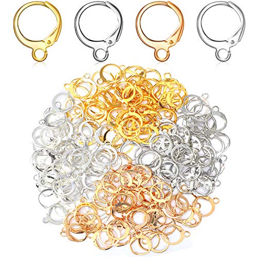 200 Pieces Round Earring Hooks Lever Back Ear Wire with Open Loop Earring Round French Hook for DIY Earring Designs Jewelry Making, 4 Colors