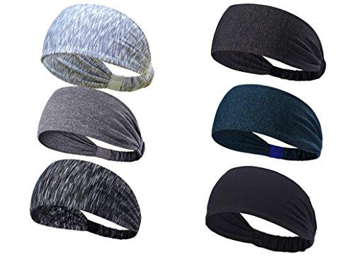 TENSKY 6pack Sport stirnbänder für Frauen Teenager mädchen leicht am Breiten Haarband für Yoga läuft zum Basketball, schnell trocken