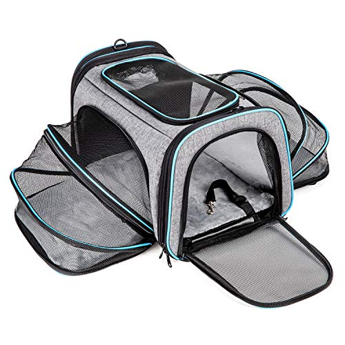 BERTASCHE Cat Carrier Expandable Airline Approved Pet Carrier, Soft Sided Travel Carrier for Small Cats Dogs w/Removable Fleece Pad and Pockets