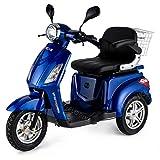 VELECO Scooter Elettrico 3 Ruote Disabili Anziani 25km/h 900W ZT15 Blu