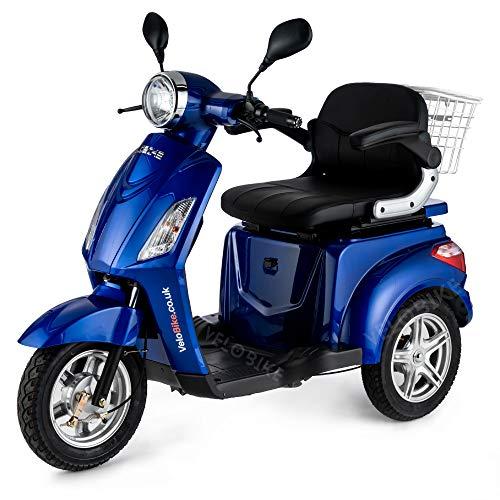 VELECO Dreirad ElektroRoller E-Scooter Elektromobil 25 km/h 900W 3 Rad Seniorenfahrzeug Seniorenmobil ZT15 (Blau)