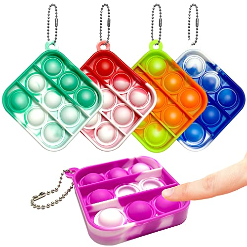 5 Pcs Mini Push Pop Bubble Fidget Sensory Toy, Sensory Fidget Toys Pocket Pop Keychain, Simple Dimple Fidget Pack Fidget Pop Keychain Toy Stress Relief Emotions Gift for Adult Kids (Colorful Square)