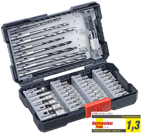 kwb 108955 39-Piece Drill Box with Hexagonal Shaft HSS Metal Drill Bit 2 x Masonry Drill + 3 Wood Drill Bits PH, PZ and Torx in Set Including Countersink Bit Holder and Socket Spanner Bits Grey