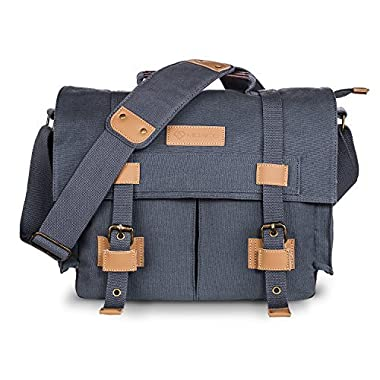 DSLR SLR Camera Bag,MOACC Canvas Vintage Camera Messenger Bag Shoulder Bag with Shockproof Insert(BBK3)