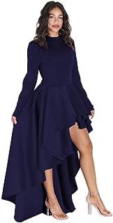 Women Short Sleeve High Low Peplum Dress Bodycon Party Club Asymmetrical Dress