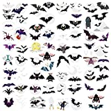 Oottati 10 Sheets Temporary Tattoo for Kids Halloween Tiny Cute Black White Baby Bat Moon Suit for Arm Shoulder