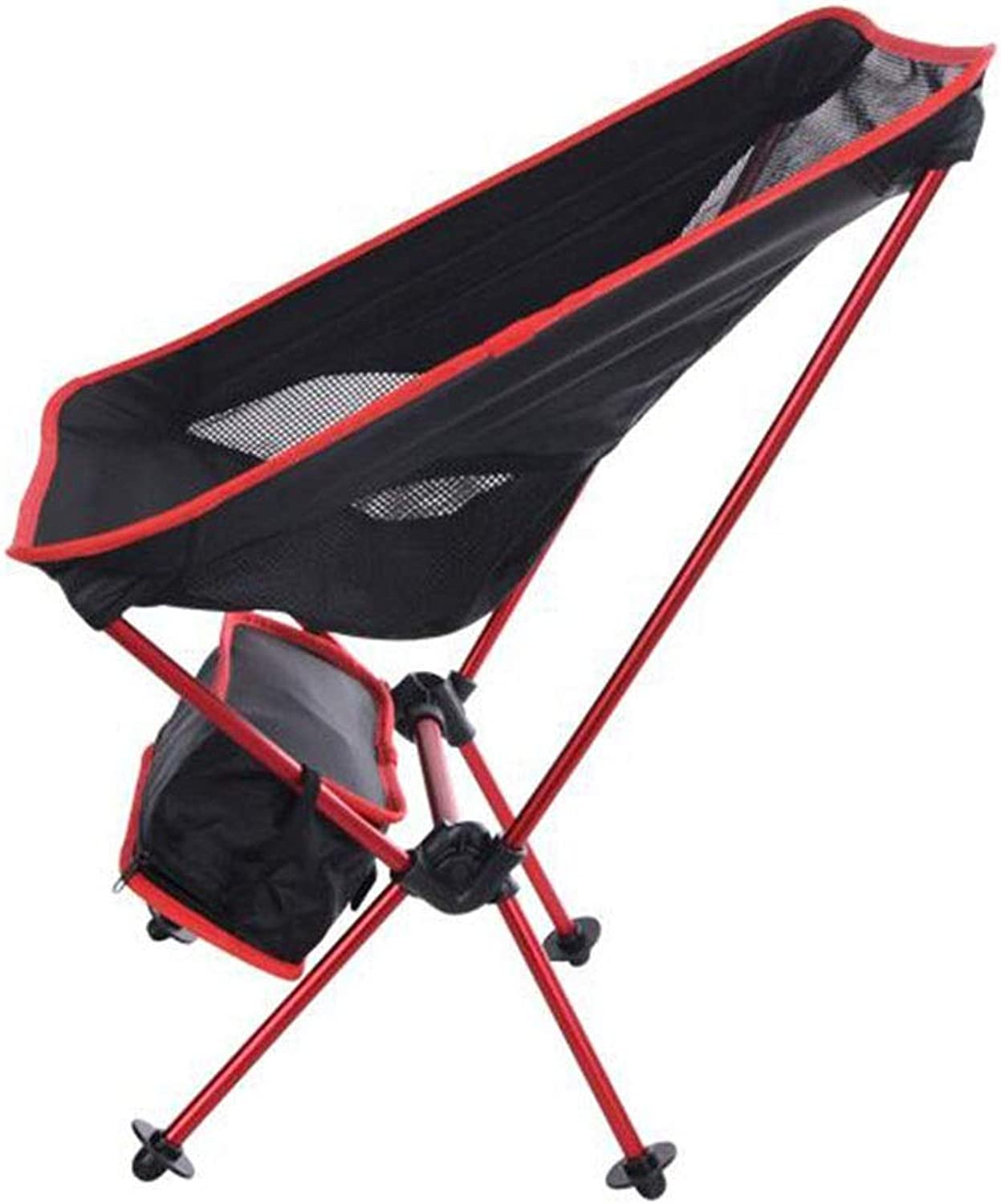 Outdoor Folding Chair Portable Ultra Light Aluminum Moon Chair Leisure Camping Fishing Chair Barbecue Travel Garden Indoor and Outdoor (color   Black)