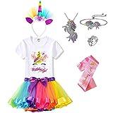 Unicorn Jewelry, Headband, T-Shirt, Tutu Dress & Satin Sash. Unicorn Birthday Party Outfit for Girls (Birthday Girl 1A, 8 Years)