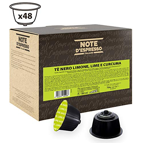 Note D'Espresso Cápsulas de Té Negro con Limón, Lima y Cúrcuma - 48 x 16 g, Total: 768 g