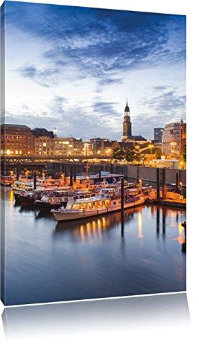 Hamburger Hafen am Abend , Format: 60x80 auf hochkantiges Leinwand, XXL riesige Bilder fertig gerahmt mit Keilrahmen, Kunstdruck auf Wandbild mit Rahmen, günstiger als Gemälde oder Ölbild, kein Poster oder Plakat