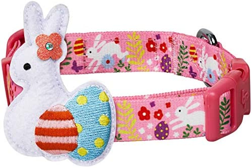 Blueberry Pet 2021 New Easter Bunny and Egg Adjustable Dog Collar with Detachable D cor Pink product image