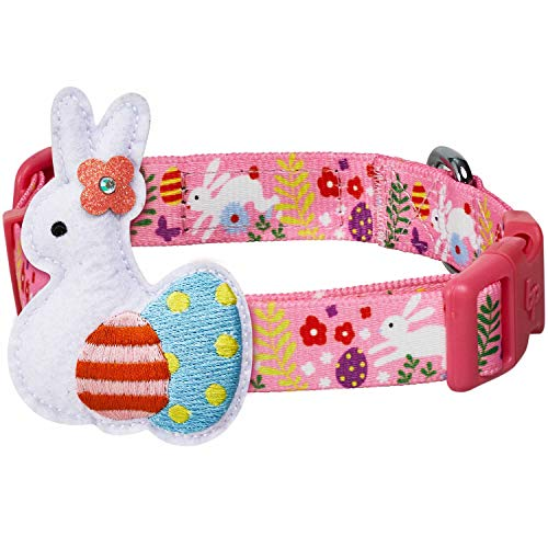 Blueberry Pet 2021 New Easter Bunny and Egg Adjustable Dog Collar with Detachable Décor Pink Medium Neck 145quot20quot