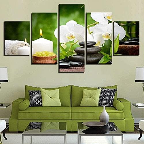 cuadro en lienzo impresión de 5 piezas - Enmarcado y listo para colgar Escena Vela de piedra Flor de orquídea Decoración del hogar Arte 150x80cm