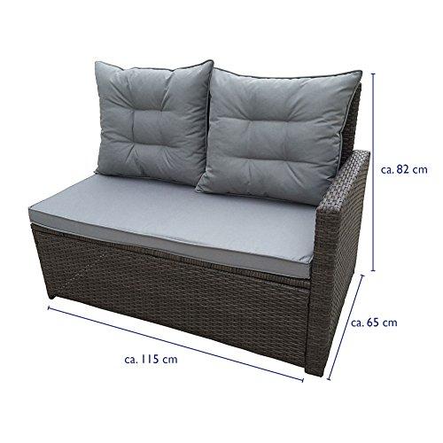 SVITA Monroe Polyrattan Ecksofa Rattan-Lounge Esstisch Gartenmöbel-Set Sofa Garnitur Couch-Eck (Lounge Set, Schwarz) - 8