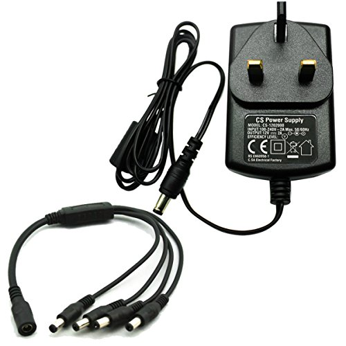 AC 100-240V to DC 12V 2A Power Supply Adapter with 4 Split Power Cable for CCTV Security Camera DVR NVR Led Strip CE BS