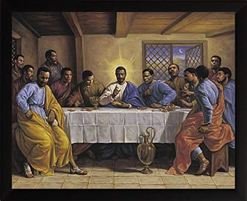 HSE Last Supper by Sarah Jenkins Framed African American Religious Art Picture Finished Size: 19x23