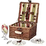 ZORMY Picnic Basket for 2 Person, Durable Wicker Picnic Hamper Set, Willow Picnic Basket Accessories Plates and Utensils, Perfect Wedding, Anniversary or Birthday Gift (Green Stripe)