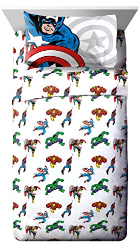 Marvel Avengers Comic Cool Queen Sheet Set - 4 Piece Set Super Soft and Cozy Kid's Bedding Features Captain America, Spiderman, & Iron Man - Fade Resistant Microfiber Sheets (Official Marvel Product)