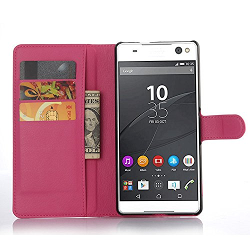 Ycloud Tasche für Sony Xperia C5 Ultra (6 Zoll) Hülle, PU Ledertasche Flip Cover Wallet Case Handyhülle mit Stand Function Credit Card Slots Bookstyle Purse Design Rose Red