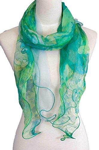 Double Layer 100% Silk, Floral Ruffle Silk Scarf, Summer scarf (Green)