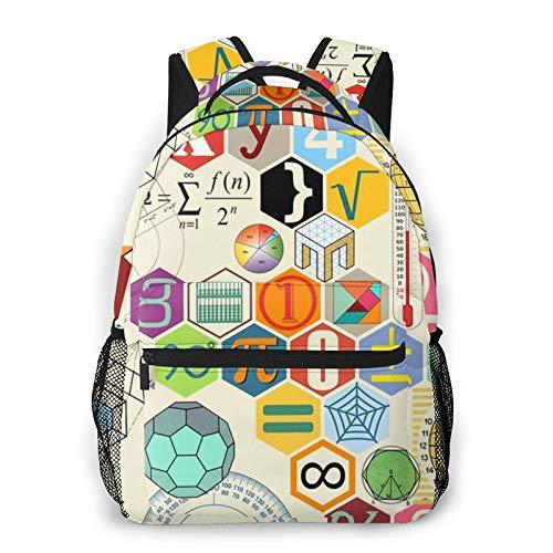 Unisex Rucksack Retro Mathematik Symbol Kunst 3D Allover-Print Leichte Schultasche für Jungen